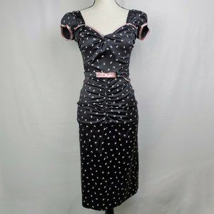 Stop Staring Silk Dress Black Pink Bows Pinup
